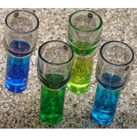4 stk snapsglas i forsk farver