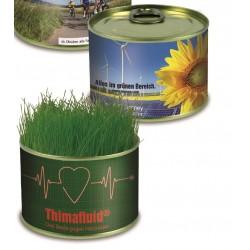 Konservesdåse med blomster eller græsfrø