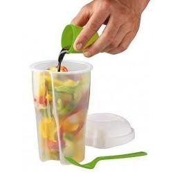 Salatbæger med gaffel + dressingbæger
