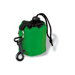 nøglevedhæng udformet som nylon rygsæk, med karabinhage