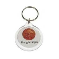 Rundt plast nøglevedhæng