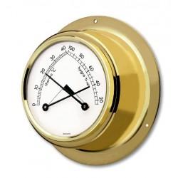 Messing thermometer og hygrometer.