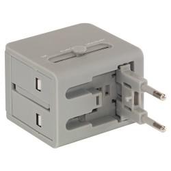 Rejse adaptertil lysnettet med universalstik + USB