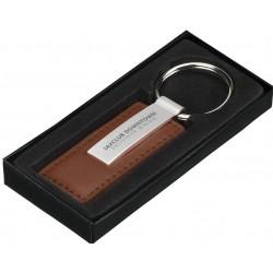 Nøglevedhæng imiteret læder, mat metal