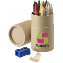 Farveblyanter + blyantspidser i paprør, 2434A32