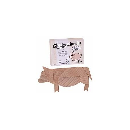 Træpuslespil udformet som en gris
