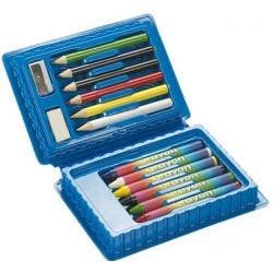 Farveblyanter, viskelæder samt blyantspidser.